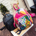 Bailar women Splice Backpacks for teenager girls famous brand rivet versatile high PU leather school bags travel free sipping