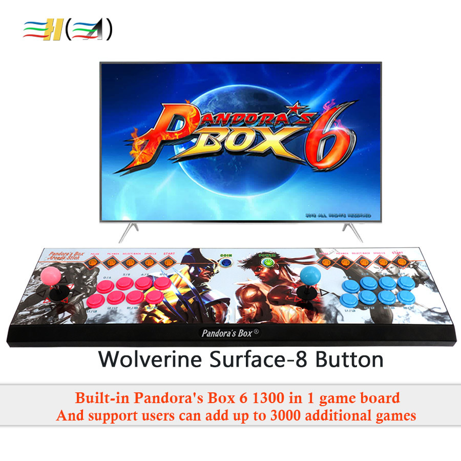 2 Players Pandora's Box 6 1300 in 1 can add 3000 games arcade game console 8 button controller support add FBA MAME PS1 game цены