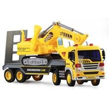 Детский мультфильм Прицепы игрушка со звуком и светом транспортных средств Бег в инерции включены кнопку Батареи автомобиль автомобилей игрушка в подарок