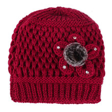 Фотография Middle - aged Lady Hat 2017 New Style Women Thicken Warm Woolen Beanies Flowers Decorated Knitted Hats Resist Cold Mother
