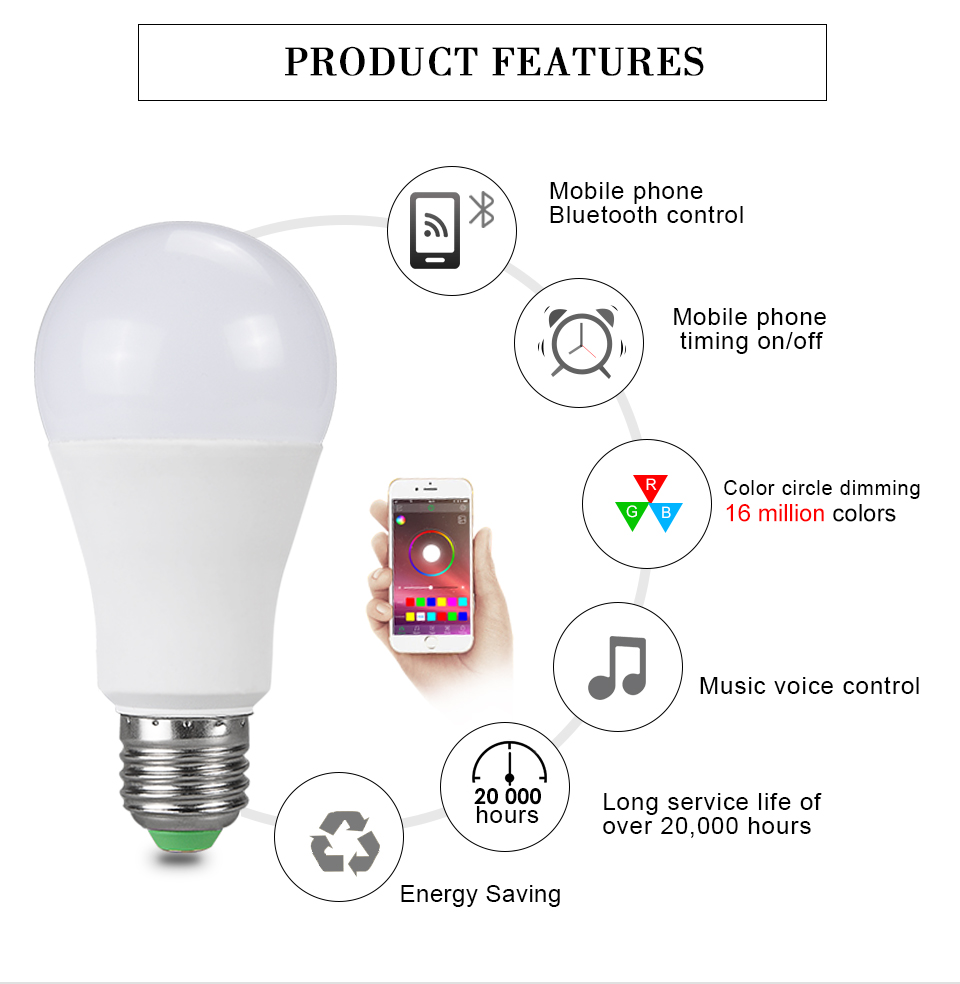 15W 20W 85-265V  RGBW LED Light Bulb Music Control 20 Modes Apply to IOS Android (3)