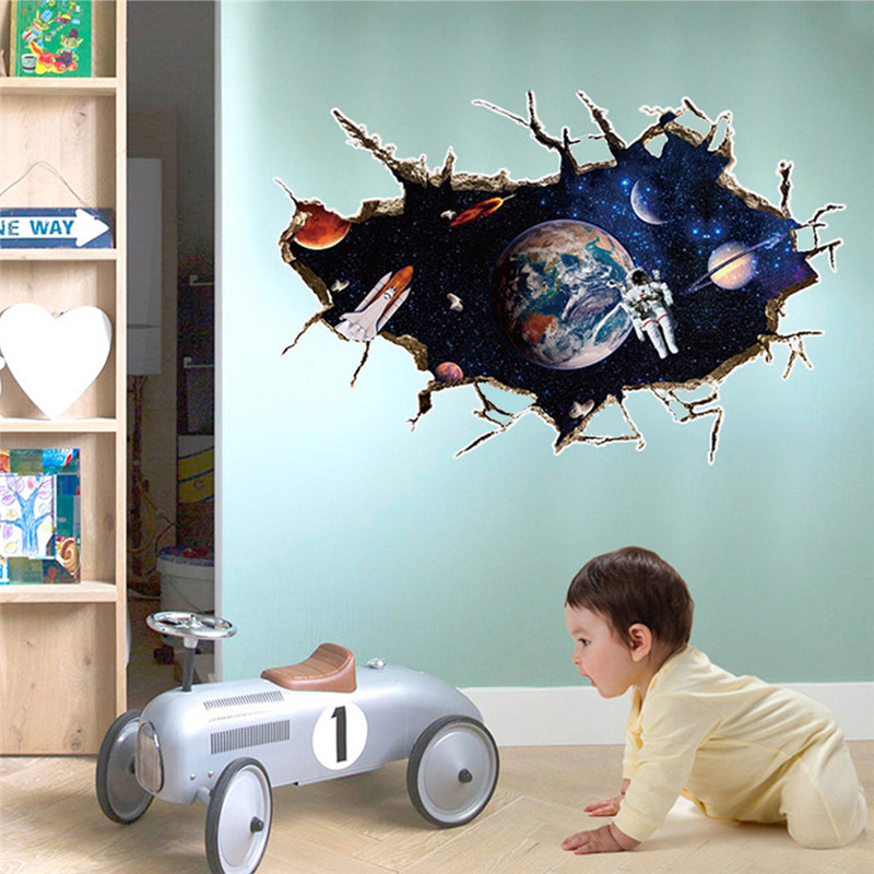 3d outer space planet wall sticker for kids room decor for Weltraum kinderzimmer