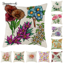 Fuwatacchi Linen Flowers Cushion Cover Rose Lotus Sunflower Pillow for Home Chair Decorative Pillows Throw