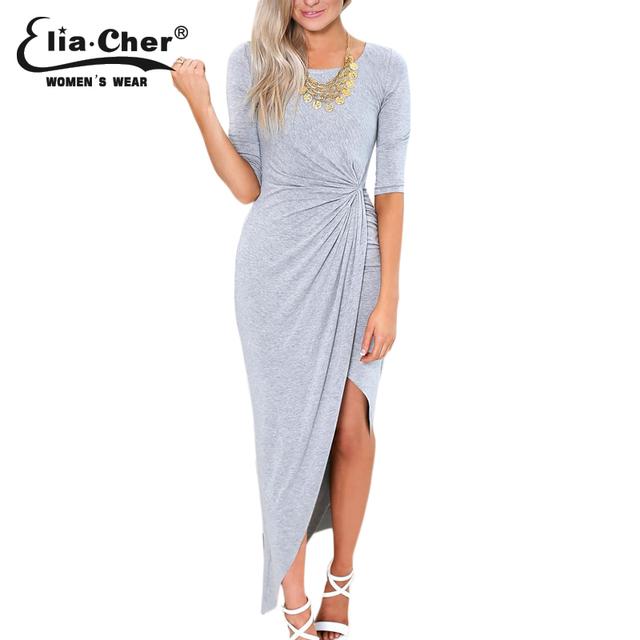 Elia-Cher Knitted Maxi Style Elegant Gathered Long Dress