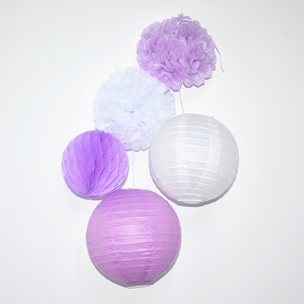White,Purple Chinese Round Paper Lantern Paper Pom Poms,Hanging ...