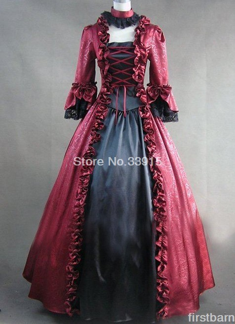 Custom Red And Black Long-sleeved Victorian Gothic Lolita dress Halloween Steampunk dresses