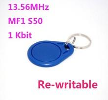 100 stks/partij 13.56 Mhz Rfid Tags Keyfob ISO14443A Herschrijfbare NFC Tag Compatibel MF S50