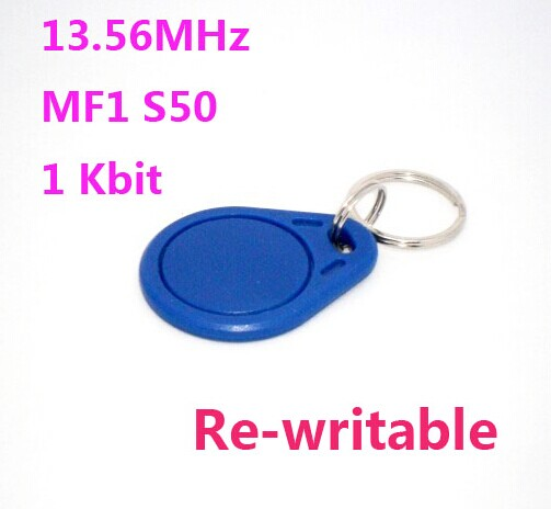 100pcs/Lot 13.56Mhz Rfid Tags Keyfob ISO14443A Rewritable NFC Tag Compatible MF S50