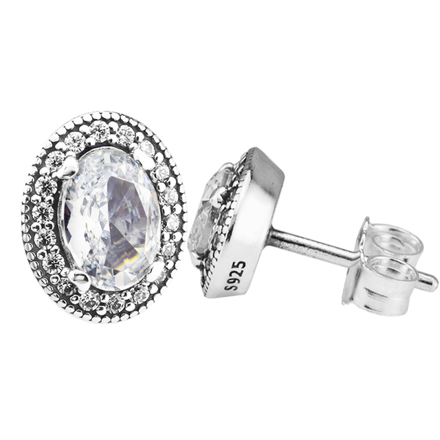 40e4d365a Vintage Elegance Stud Earrings with Clear CZ 100% 925 Sterling-Silver-Jewelry  Free