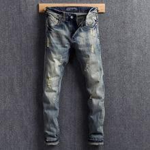 Italian Vintage Style Fashion Men Jeans Retro Wash Slim Fit Ripped Cotton Denim Pants Streetwear Classical homme