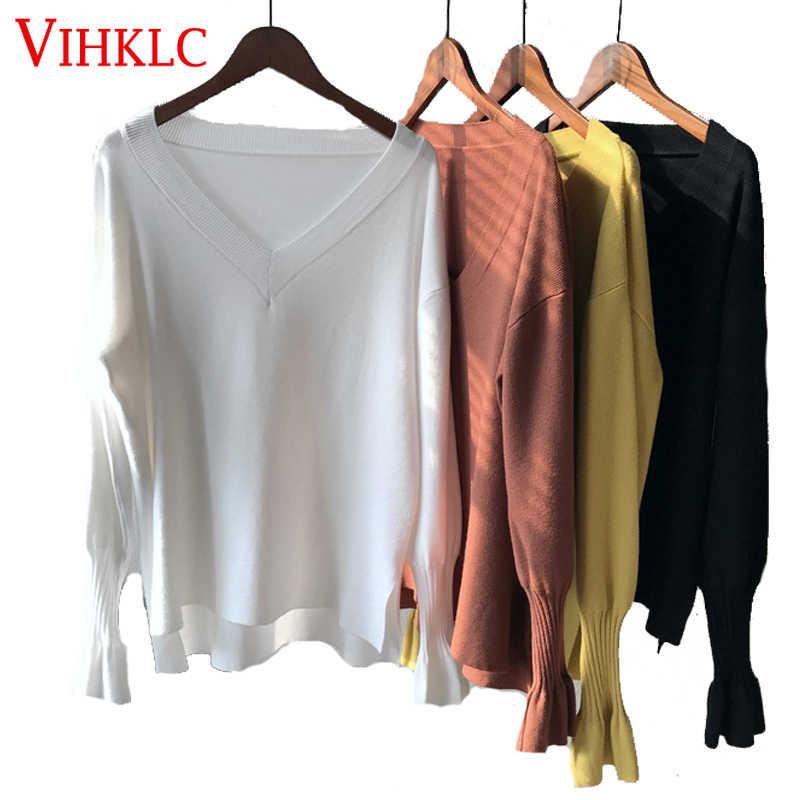 2018 осенне-зимние женские белые свитера с рукавами-бабочками с v-образным вырезом, однотонные желтые вязаные пуловеры с разрезом по бокам, топы H927