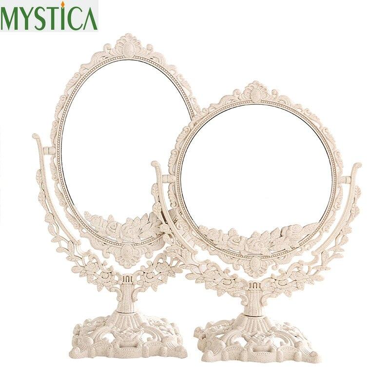 New360 rotativa feminino espelho de maquiagem do vintage floral oval redondo handhold espelho princesa elegante maquiagem beleza