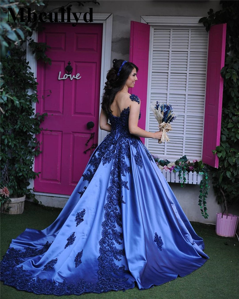 Mbcullyd V-neck Ball Gown   Prom     Dresses   2019 Long Sweep Train   Dress   Evening Wear Royal Blue Applique Arabic vestidos de festa