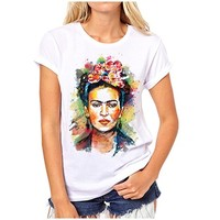 Women Frida Kahlo Print T shirt Funny Personalized Short Sleeve Round Neck Sugar Skull Top Tees