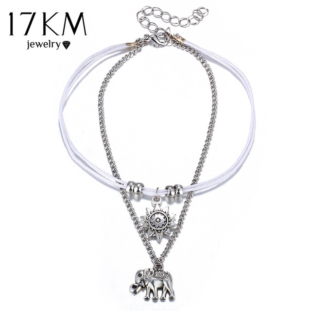 17KM Fashion Sun Elephant Anklet Set For Women Vintage Beach Foot jewelry Statement Anklets Boho Style Party Bohemian Jewelry 4
