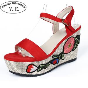 941a47cf92db Vintage Embroidery Ladies Sandalet Floral Embroidery Super High Heels  Sandals Women Solid Suede Wedges Platform Shoes For Woman