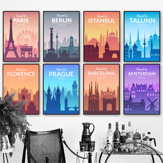 Paris Berlin Istanbul Prague florence Nordic Posters And Prints Wall Art Canvas Painting Wall Pictures For Living Room Decor