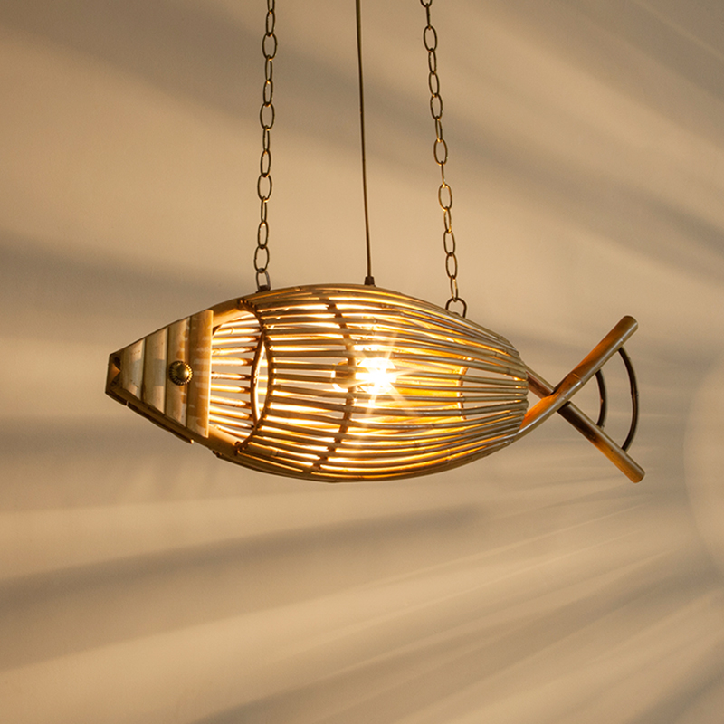 Japan Bamboo Weave Pendant Lamps Southeast Asia Korean Countryside Bedroom Restaurant LED Creative Fish Shape Home Decor Lights dia 56cm creative wooden chinese style dining room chandeliers black or natural bamboo japanese southeast asia pendant lamps