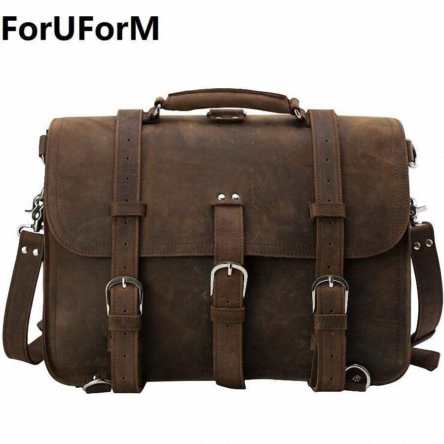 ForUForM Men Genuine Leather Messenger Bag Man Crossbody Shoulder Bag Business Tote Briefcases Cow Crazy Horse Leather LI-1925 цена и фото