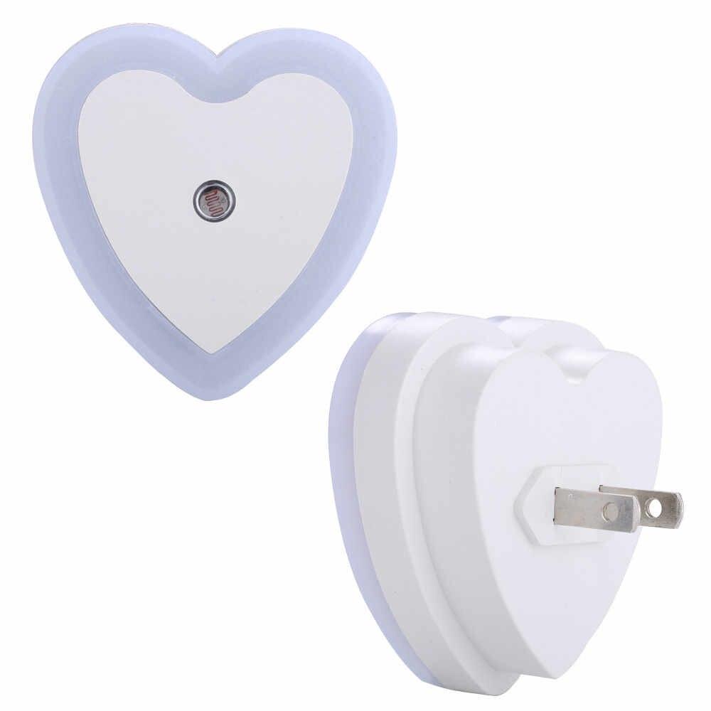 4 Warna Conventient US Plug Auto Lampu Induksi Kontrol Sensor Kamar Tidur Berbentuk Hati LED Malam Lampu Dekorasi Rumah/ ialah