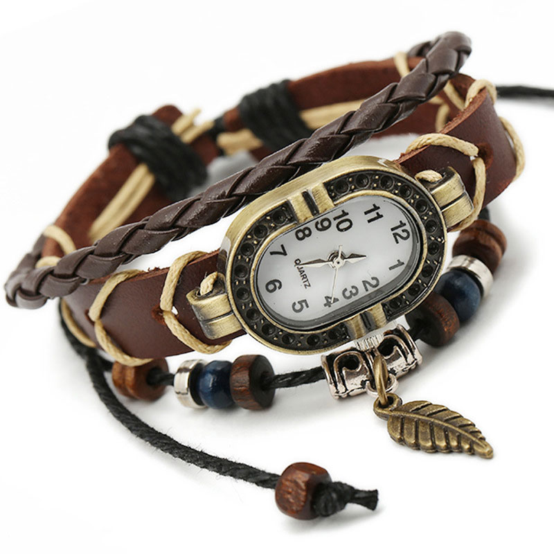 Vintage Women Weave Wrap Bracelet Watch Clock Gift Quartz PU Leather Leaf Beads Charm Handmade Wristwatch For Girl Women LL