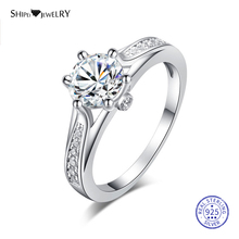 Shipei 100% 925 Sterling Silver Fine Jewelry White Gold 7mm Sapphire Engagement Ring for Women Female Anniversary Gift