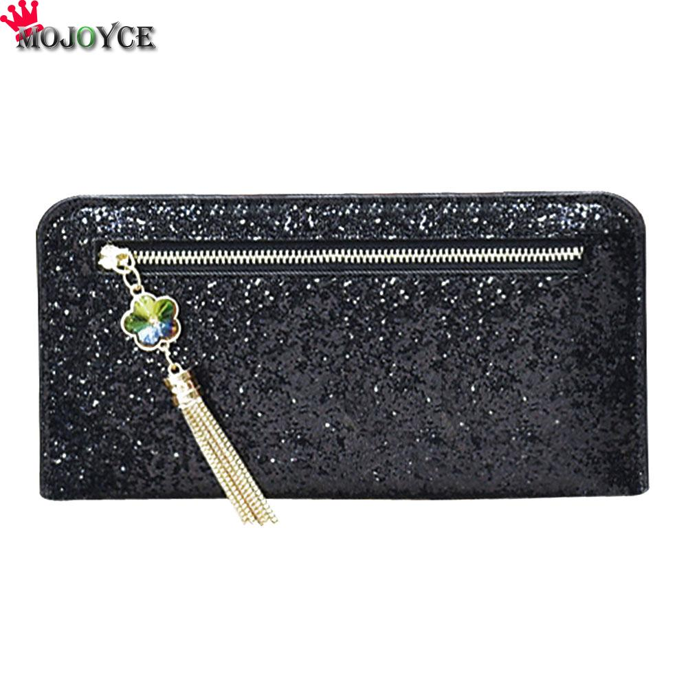 Brand PU Leather  Bling Sequins Women Wallet Long thin Purse multiple Cards Holder Clutch bag Fashion Standard Wallet