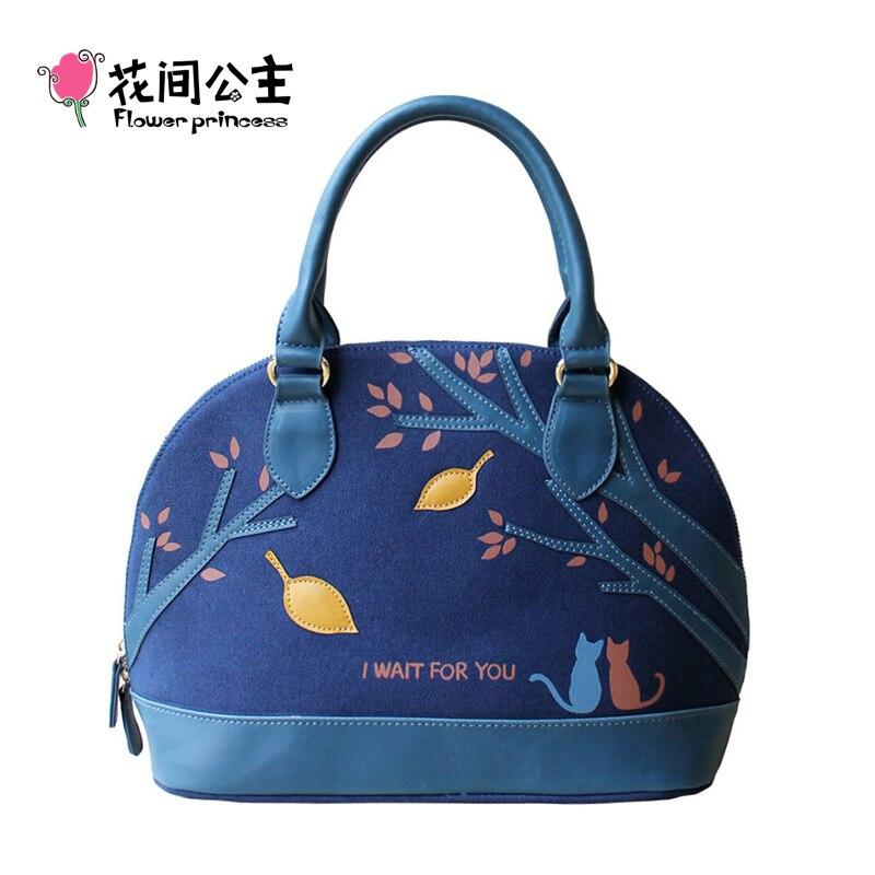 ФОТО Flower Princess Brand Women Fashion Canvas Shell Handbags Female Top-Handle Shoulder Crossbody Bag School Girl Bags X003