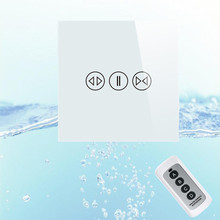 EU Tempered Galss Panel Electric Touch Curtain Wall Switch with Backlight indicator+Remote Control For Less than 100W