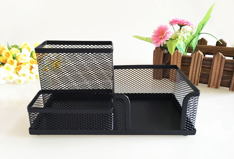 Pen Holders 1pcs Pen Holders Affordable Students Office Desk 3 Compartments Metal Pen Container Black School Stationery Desk Organizer Office & School Supplies