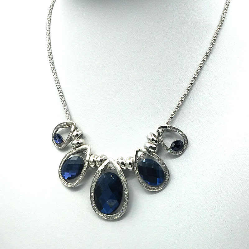 blue crystal necklace chunky costume necklace jewellery statement jewelry