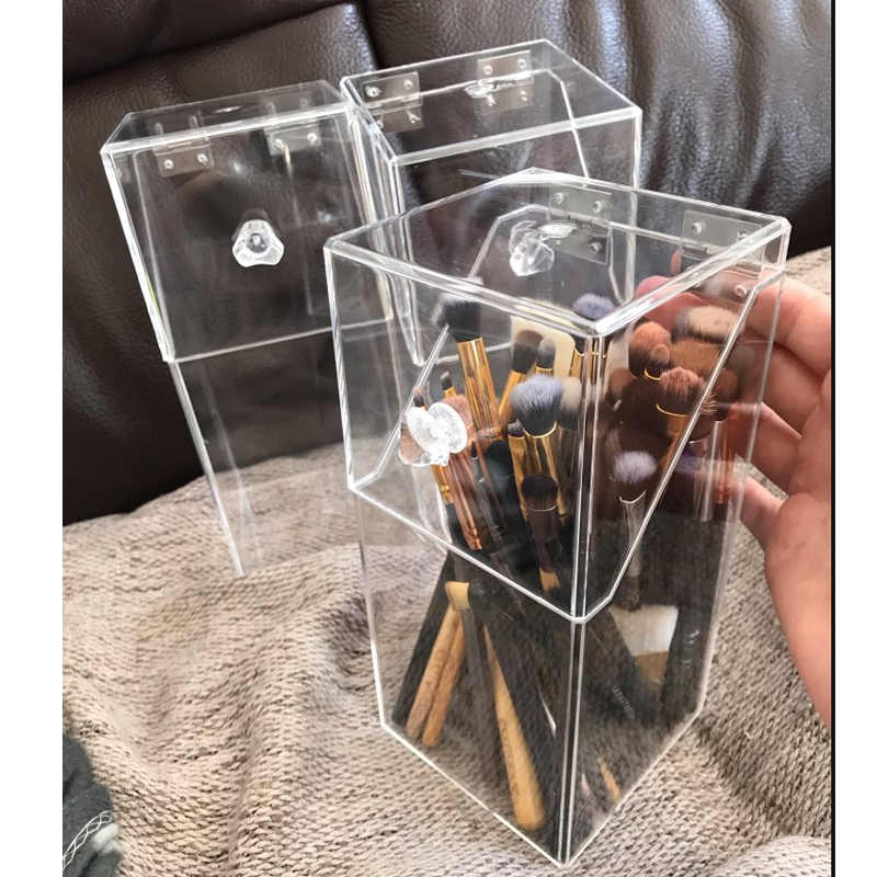 Acrylic Clear Makeup Brush Storage box with cover Plastic Makeup organizer Cosmetic tool Holder Pearl And Box Separate Sale