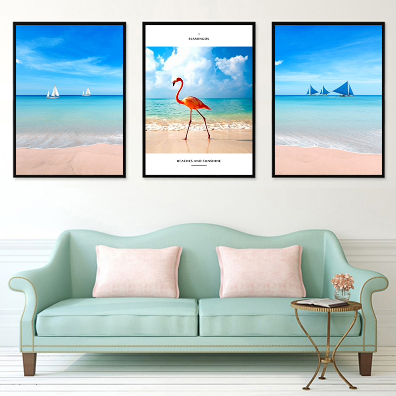 Modern Beach And Sunshine Sailing Flamingos Seascape Nordic Print Posters Art Canvas Painting Home Decor Wall Picture Cafe Shop in Painting Calligraphy from Home Garden