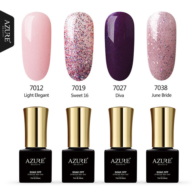AZURE BEAUTY Gel Varnish Nail Glue 4Pcs/lot Pink Sequin Gel Nail Kit ...