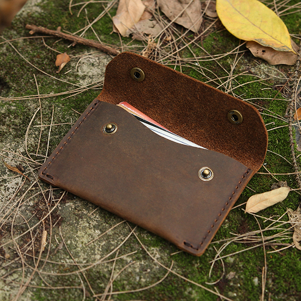 56080d69ced65 Fashion men s crazy horse leather card holder two button wallet credit slim  coin purse