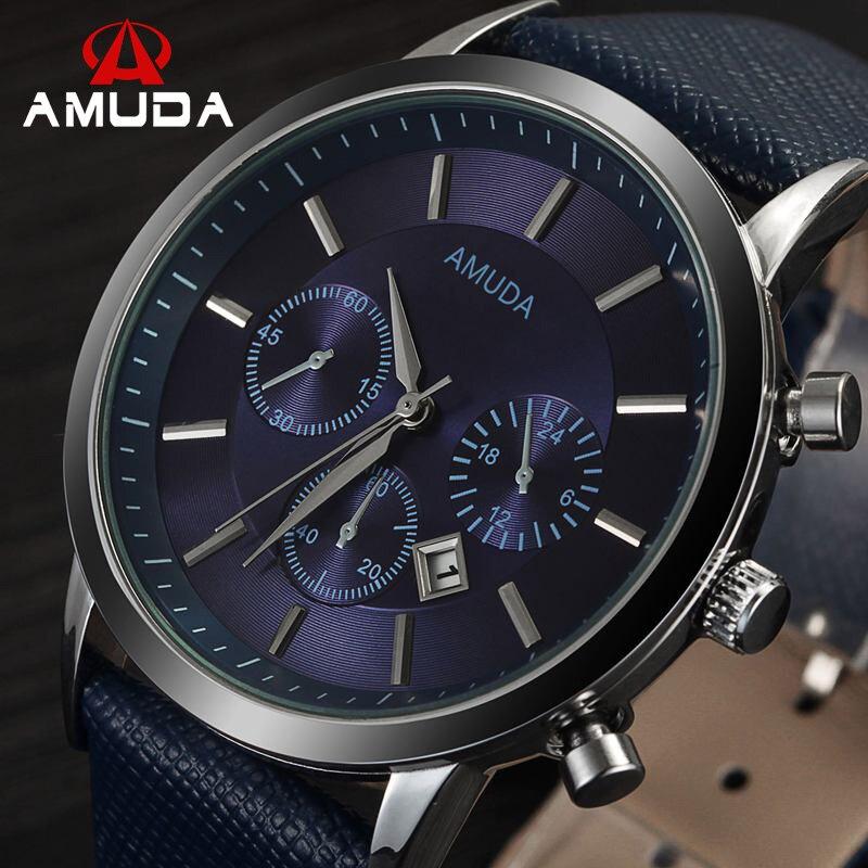 Prix pour 2016 Mens Montres Amuda Marque De Luxe Casual Militaire Quartz Sport Montre-Bracelet Bracelet En Cuir Mâle Horloge Montre Relogio Masculino
