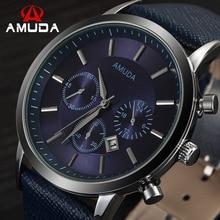 2016 mens relojes amuda marca de lujo casual correa de cuero hombre reloj de pulsera deportivo de cuarzo reloj militar relogio masculino