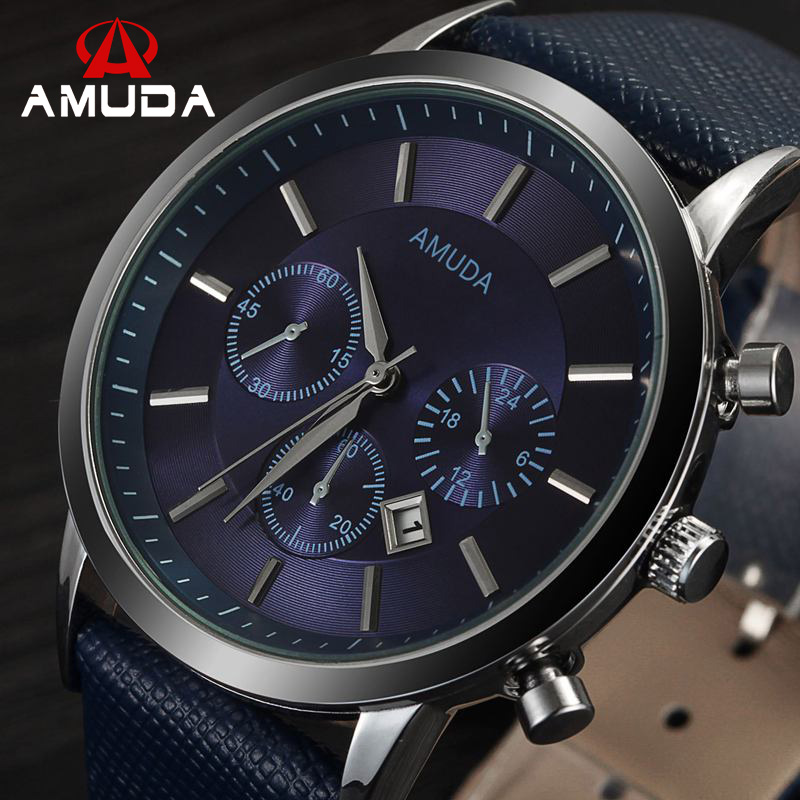 2017 Amuda Brand Luxury Mens Watches Casual Military Quartz Sports Wristwatch Leather Strap Male Clock Watch Relogio Masculino 2017 oukeshi brand men sports watches luxury leather military watch male quartz wristwatch relogio masculino oks11