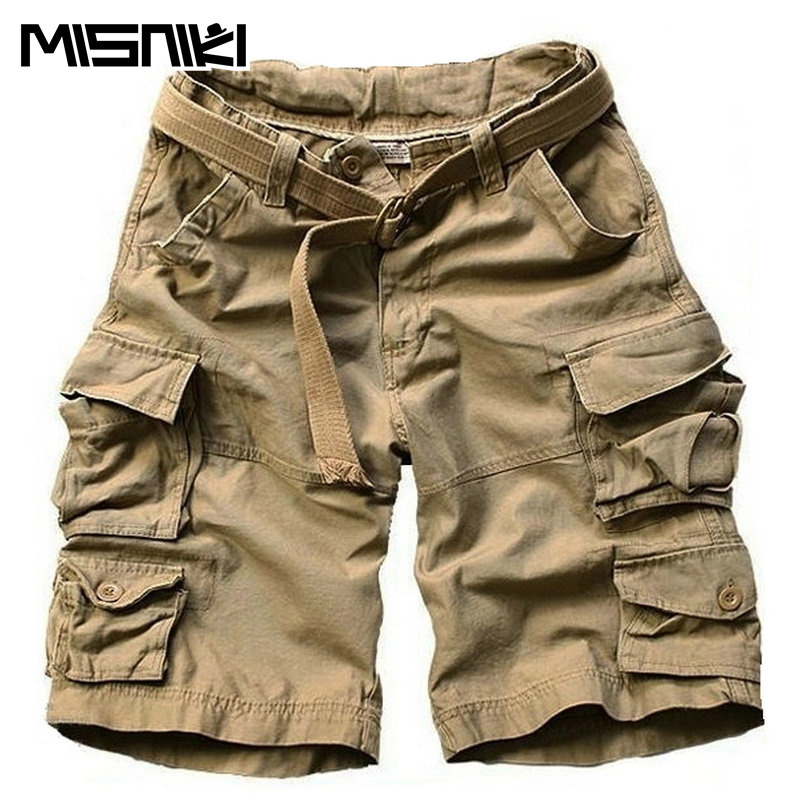 MISNIKI 2017 New Style Summer Multi-pocket Camouflage Mens Shorts Casual Loose Knee-length Mens Cargo Shorts Within Belt S-3XL