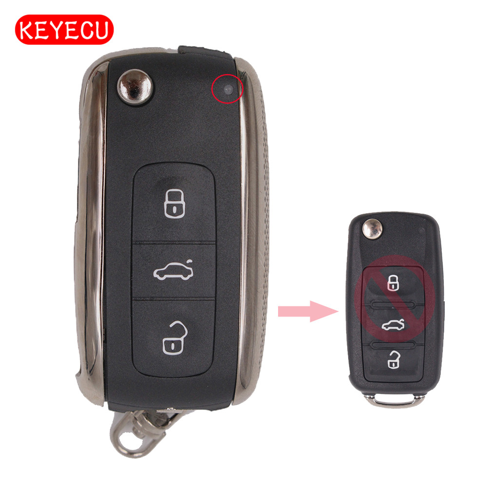 Keyecu Modified Bentley Style Folding Type Remote Control Key Shell Contain 3 Button for VW Skoda Elite,Superb