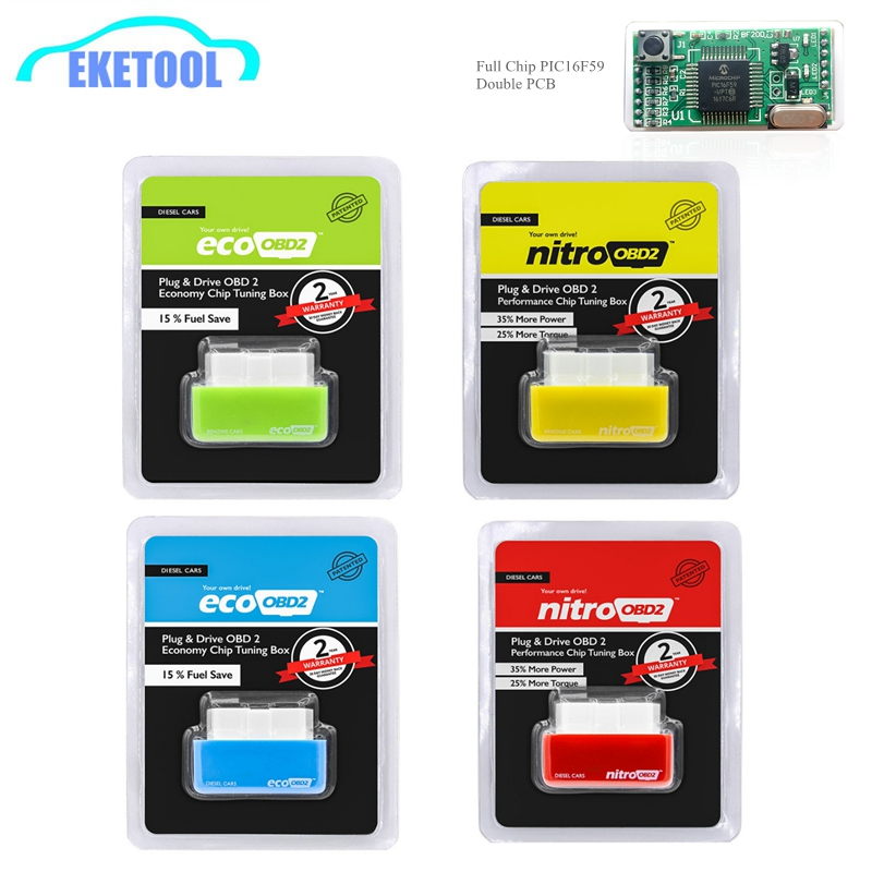 NitroOBD2 Benzine Cars Plug And Driver More Power/Torque OBD2 Auto Scanner Nitro OBD2 Yellow Gasoline Microchip PIC16F59