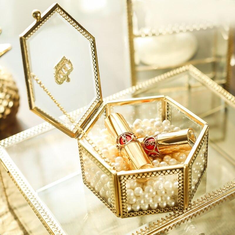 Jewelry-Box Glass Golden-Crown Storage-Box Makeup-Organizer Wedding Everlasting Gift