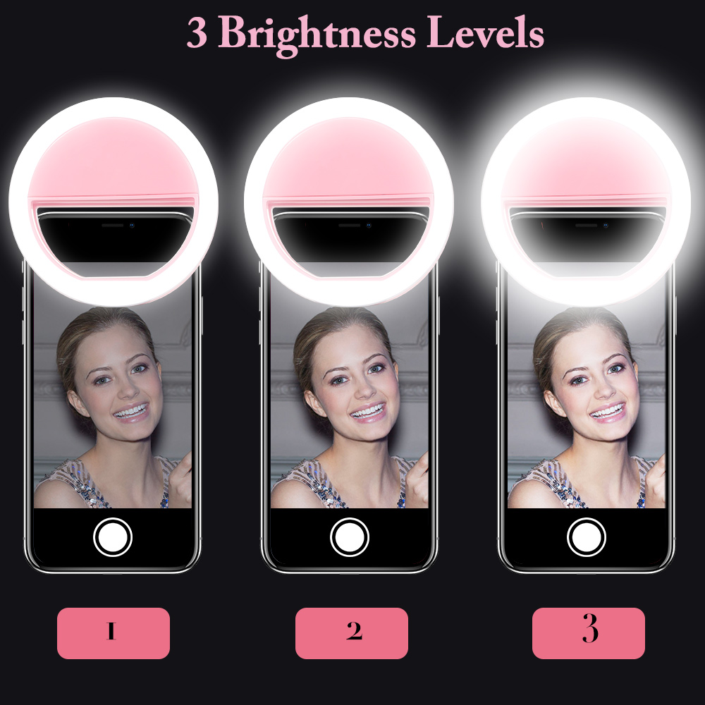 KISSCASE Portable LED Flash Light Universal For iPhone X XR XS MAX Case Selfie Ring Luminous Clip Lights For Samsung S10 Cover in Holsters Clips from Cellphones Telecommunications