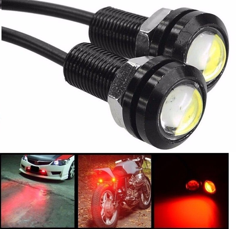 CYAN SOIL BAY 4Pcs Red Eagle Eye 18mm 9W Motor Car Tail Brake Turn Signal FOG DRL LED  Reverse Backup Lamp 12V 24V Car Styling 9w red high power led eagle eye under car body lamp drl fog light 9w motorcycle 6pcs lot free shipping