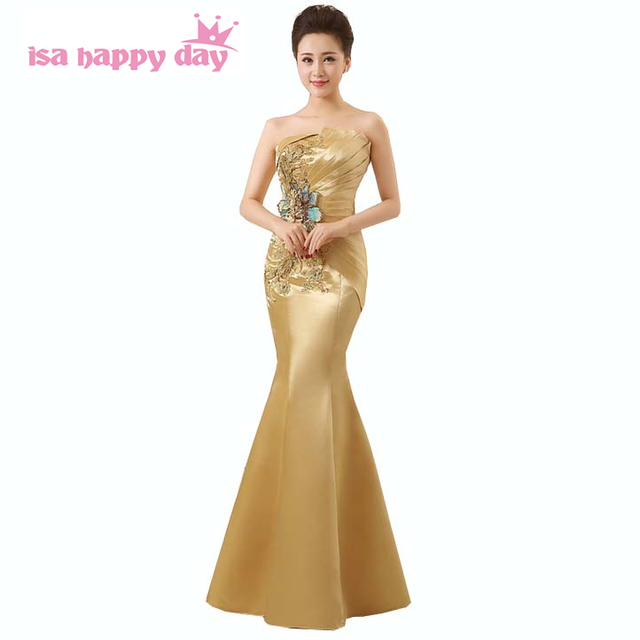 fashion ladies beaded special occasion womens mermaid dresses gold ...
