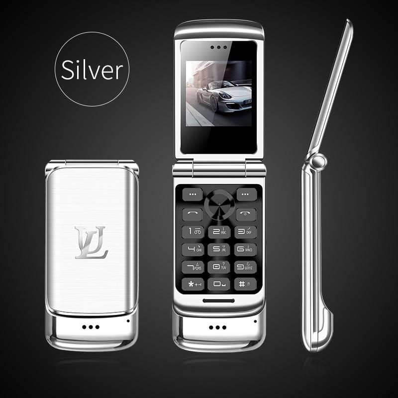 V9 Металлический Мини Мужской Бизнес Флип Мобильный двойной карты маленький телефон Личность Ультра-Тонкий Карманный запас - Цвет: silver