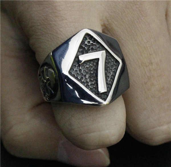 شعبية عدد 7 حلقة 316L الفولاذ المقاوم للصدأ أعلى جودة أزياء جديد تصميم محظوظ 7 خاتم راكبي دراجات