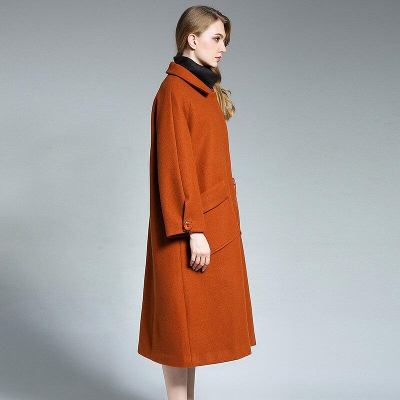 Noir Hiver Nouveau 6660 Laine Colour Poche Style Grande caramel rouge Lâche Femmes Collier Mm2018 De Taille Long Manteau En Graisse Ywxw1XZaB
