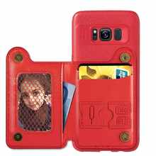 Retro Card Holder Stand Wallet Phone Case For Samsug S8 5.8 inch cover for Samsug S8 Plus 6.2 inch PU Leather phone case(China)