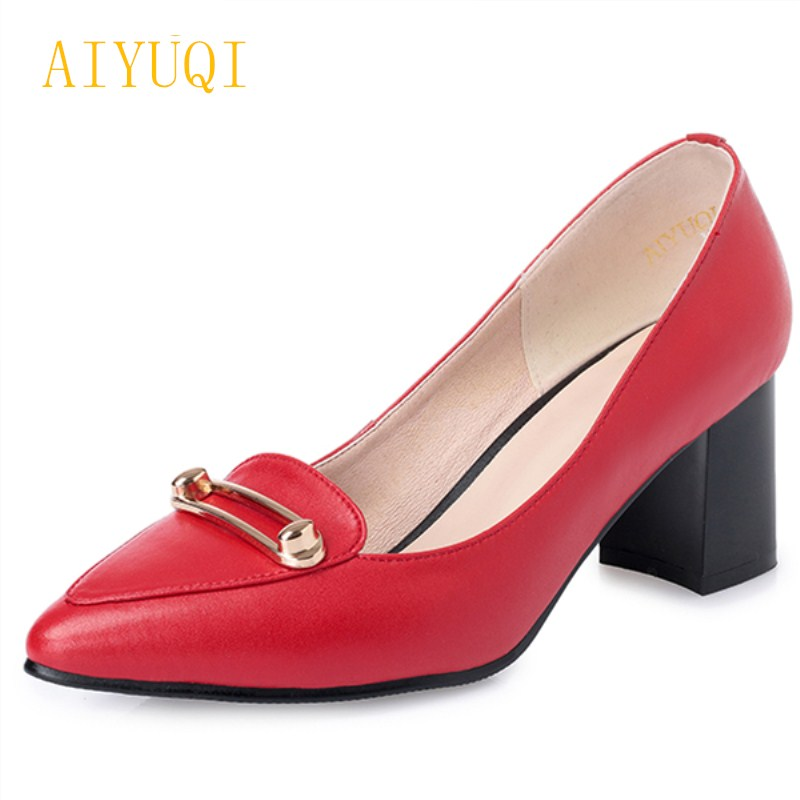 2018 new spring genuine leather women shoes fashion sexy pointed shallow mouth women's shoes wedding shoes female small size 34# aiyuqi 2018 spring new genuine leather women shoes shallow mouth casual shoes plus size 41 42 43 mother shoes female page 6